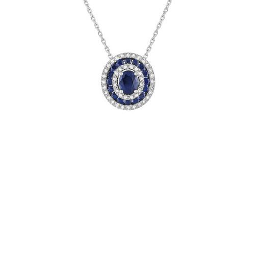 Collier motifRas du Cou entourage saphirs 0.91Cts et diamants 0.132Cts  en Or 750 / 1000 (18K)