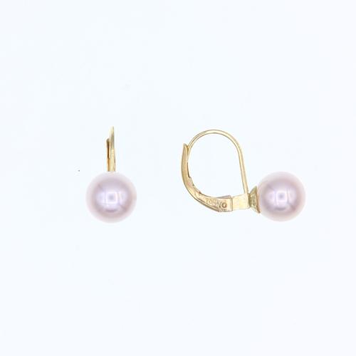 Paire de boucles dormeuses Perles eau douce 7 - 7.5mm  en Or 750 / 1000 (18K)