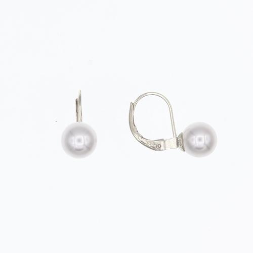 Paire de boucles dormeuses Perles eau douce 7.5 -  8mm  en Or 750 / 1000 (18K)